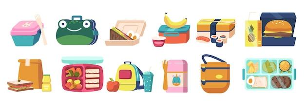 Conjunto de lancheira, coleção de lunch boxes e bento box com jantar, fast food e legumes saudáveis embalados em recipientes e sacos. refeições embaladas em embalagem infantil engraçada. ilustração em vetor de desenho animado