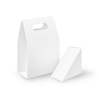 Conjunto de lancheiras de papelão branco em branco retangular triângulo com alça para viagem