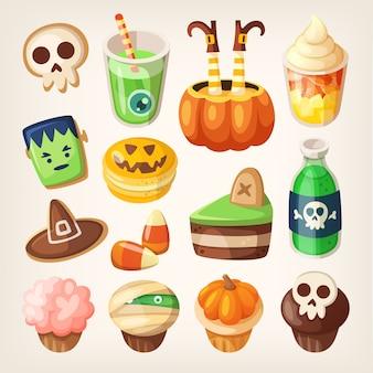 Conjunto de lanches de festa de halloween colorido e guloseimas para crianças. doces, bolos, muffins e biscoitos.