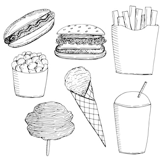 Conjunto de lanches e doces de fast food.