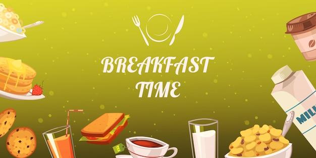 Conjunto de lanches no café da manhã no fundo de mostarda