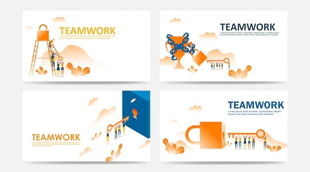 Conjunto de landing page e página da web por funcionário do conceito de trabalho em equipe da empresa