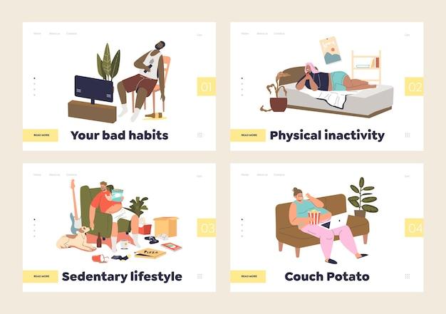 Conjunto de landing pages com pessoas que sofrem de sedentarismo e maus hábitos inativos em casa