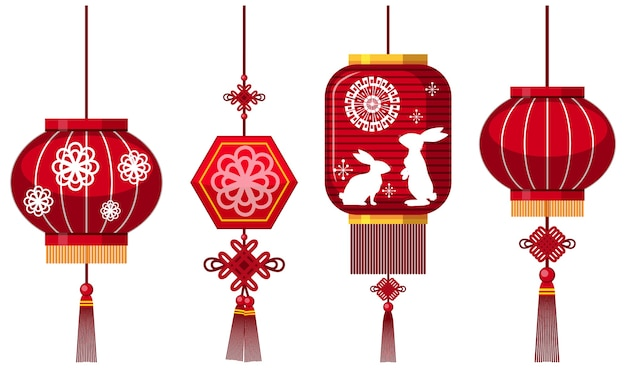 Conjunto de lanterna chinesa em fundo branco
