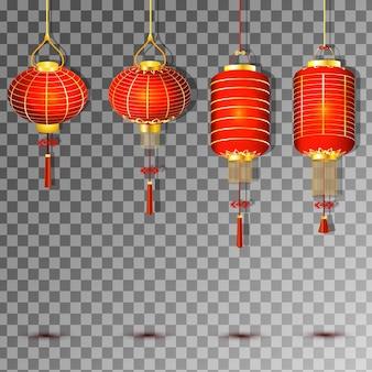 Conjunto de lanterna chinesa em fundo transparente