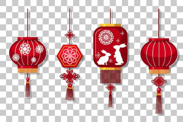 Conjunto de lanterna chinesa pendurado isolado em fundo transparente