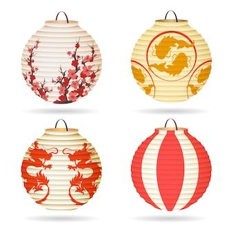 Conjunto de lanterna de papel japonês