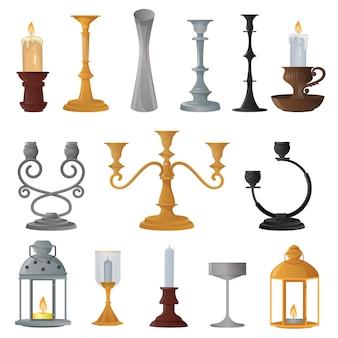 Conjunto de lanterna de vela castiçal