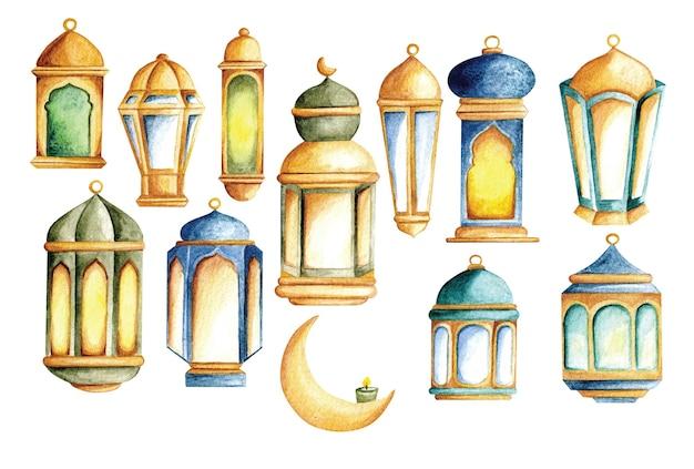 Conjunto de lanterna em ilustração estilo aquarela