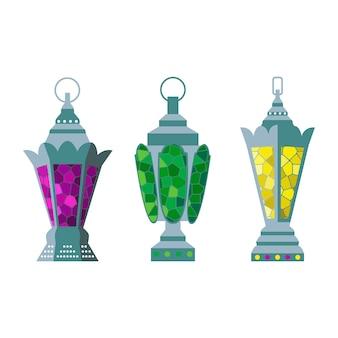 Conjunto de lanternas árabes.
