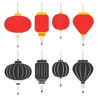 Conjunto de lanternas chinesas isolado em um fundo branco.
