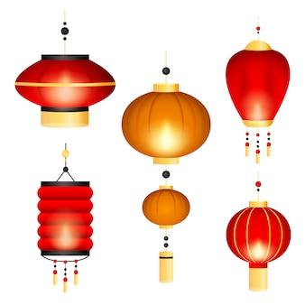 Conjunto de lanternas chinesas