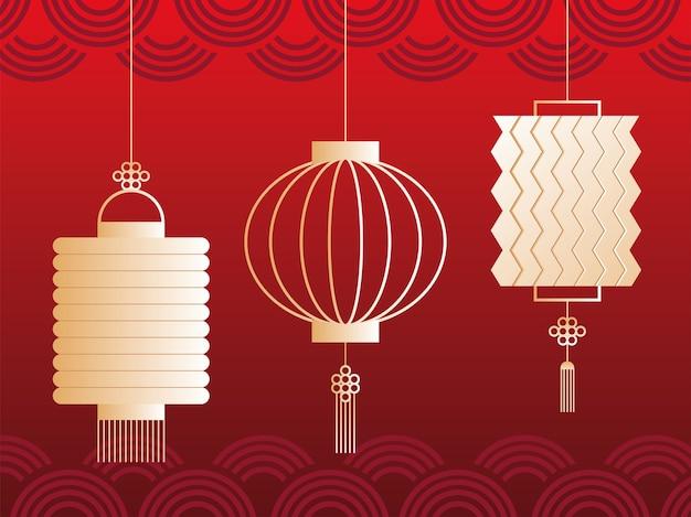 Conjunto de lanternas para festival de outono