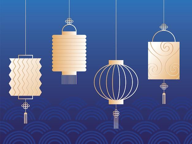 Conjunto de lanternas para o festival do meio do outono ou festival da lua