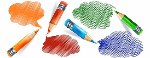 Conjunto de lápis coloridos realistas e desenho à mão com lápis