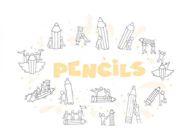 Conjunto de lápis com ilustração de pessoas pequenas a trabalhar