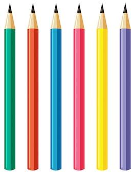 Conjunto de lápis com palitos de cores diferentes