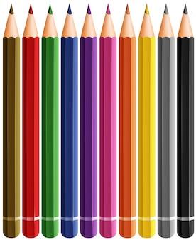 Conjunto de lápis de cor com muitas cores
