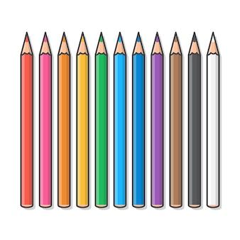 Conjunto de lápis de cor. lápis de cor de giz de cera