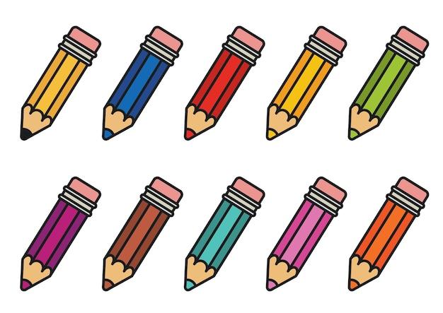 Conjunto de lápis de cor.