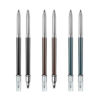 Conjunto de lápis delineador de maquiagem cosmético de dupla face colorida preta marrom azul cinza