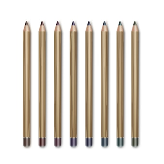 Conjunto de lápis delineador de maquiagem para cosméticos coloridos marrom escuro azul verde violeta violeta