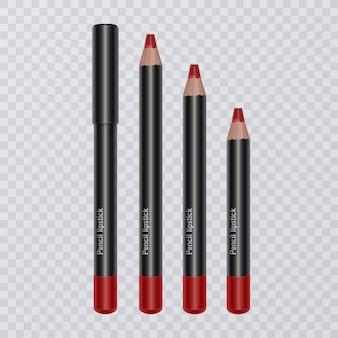 Conjunto de lápis labiais realistas, delineador labial de cor vermelha brilhante