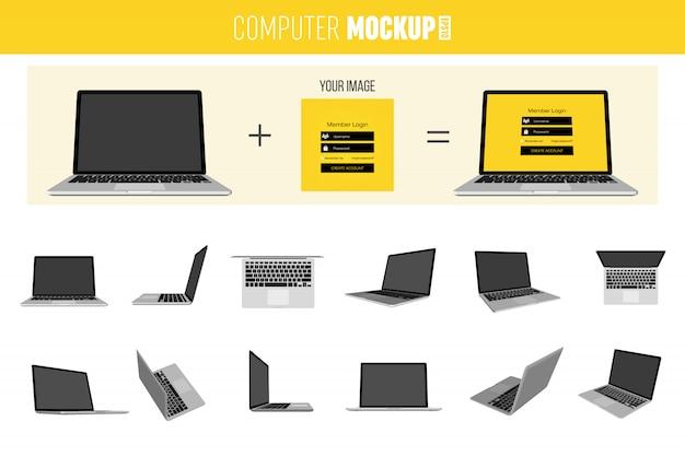 Conjunto de laptop 3d isométrico.