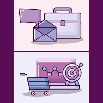Conjunto de laptop com ícones de negócios eletrônicos