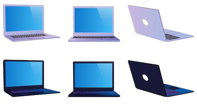 Conjunto de laptop moderno branco e preto. vista frontal, vista lateral e vista traseira.