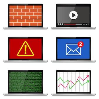 Conjunto de laptops modernos