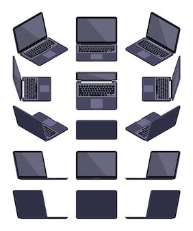 Conjunto de laptops pretos isométricos