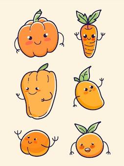 Conjunto de laranja frutas e vegetais abóbora, cenoura, mamão, manga, pêssego e laranja