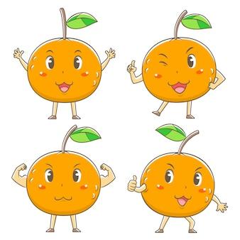 Conjunto de laranjas bonito dos desenhos animados em poses diferentes.