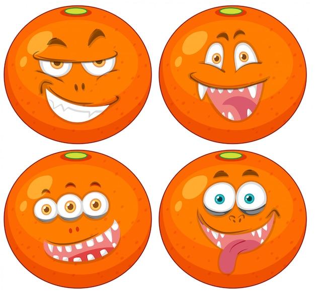 Conjunto de laranjas com expressões