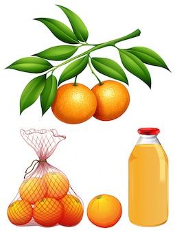 Conjunto de laranjas frescas e suco