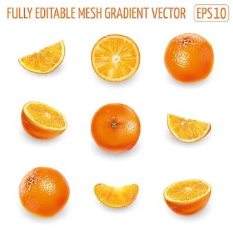 Conjunto de laranjas maduras isoladas em branco