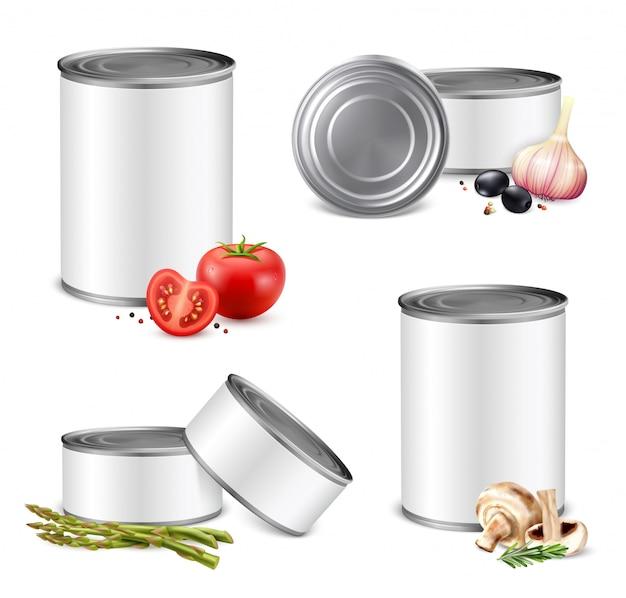 Conjunto de lata de legumes em jarro