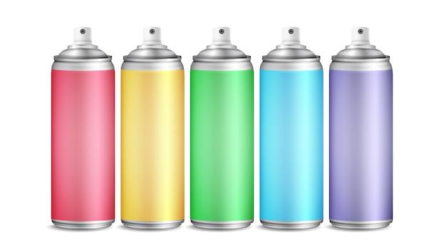 Conjunto de lata de spray colorido