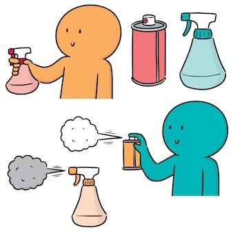 Conjunto de lata de spray e garrafa