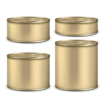Conjunto de lata metálica em branco para alimentos enlatados