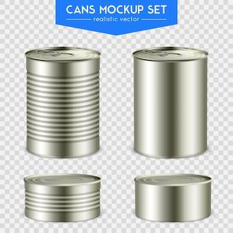 Conjunto de latas cilíndricas realistas
