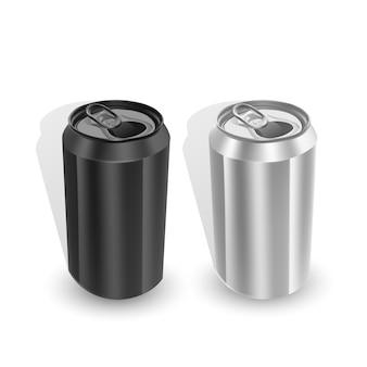 Conjunto de latas de alumínio nas cores preto e prata, isoladas no fundo branco.