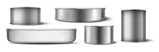 Conjunto de latas de alumínio realistas.