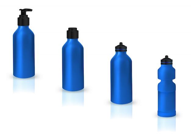 Conjunto de latas de esporte em branco para água