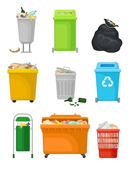 Conjunto de latas de lixo e sacos cheios