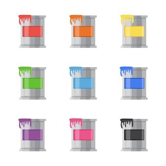 Conjunto de latas de metal coloridas e baldes com tinta, uma paleta de cores.