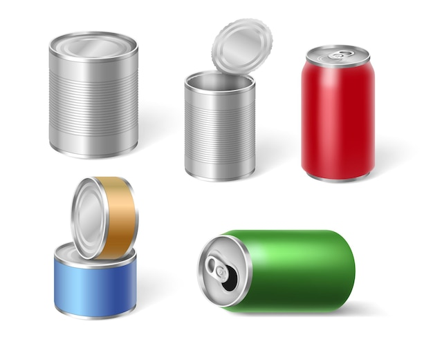 Conjunto de latas de tique para ilustração de armazenamento de alimentos e bebidas