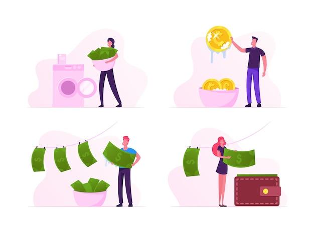 Conjunto de lavagem de dinheiro. ilustração plana dos desenhos animados