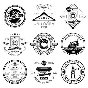 Conjunto de lavanderia e serviço de lavagem a seco com emblemas, etiquetas, emblemas e elementos de design pretos